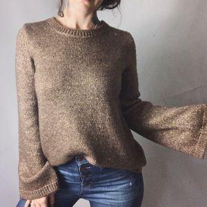 NWT ANN TAYLOR Copper Bell Sleeve Metallic Sweater